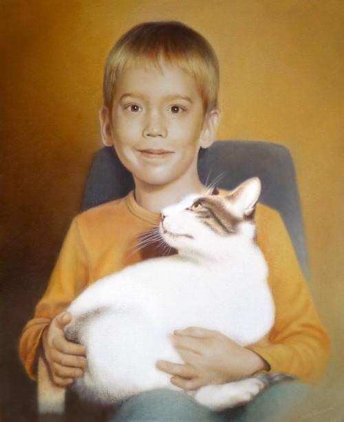 Chlapec s mačkou